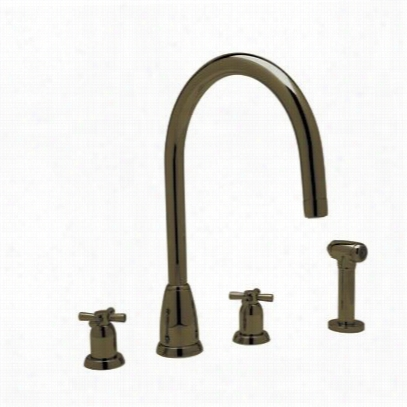 "Rohl U.4890x-eb-2 Ontemporary 4 Hole """"c"""" Spout Kitchen  Faucet With  Sidespray In Englsih Brone"