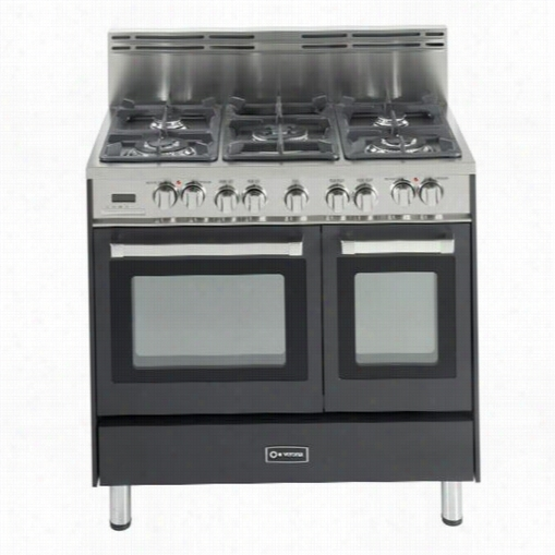 "Veroma Vefsge365nde 36"""" Doub Le Oven Dul Fuel Range With 5 Sealed Burners In Matte Black"