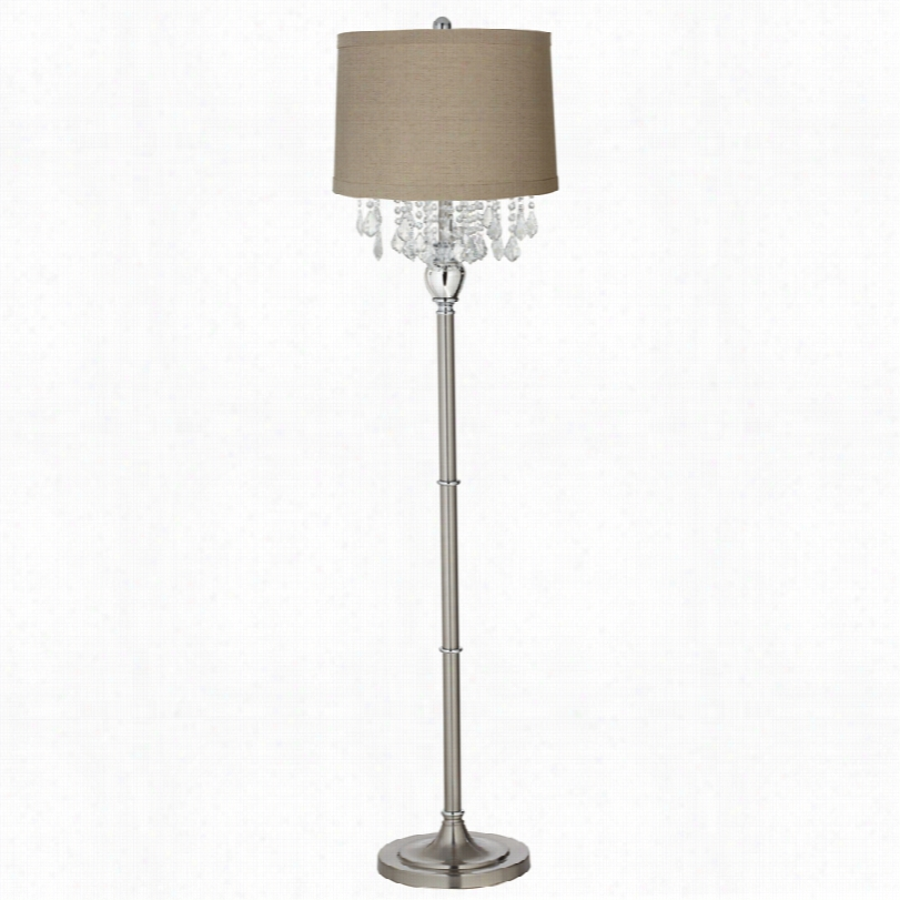 Contemporary Crystals Natural Linen Drum Shade 62 1/2-inch-h Floor Lamp