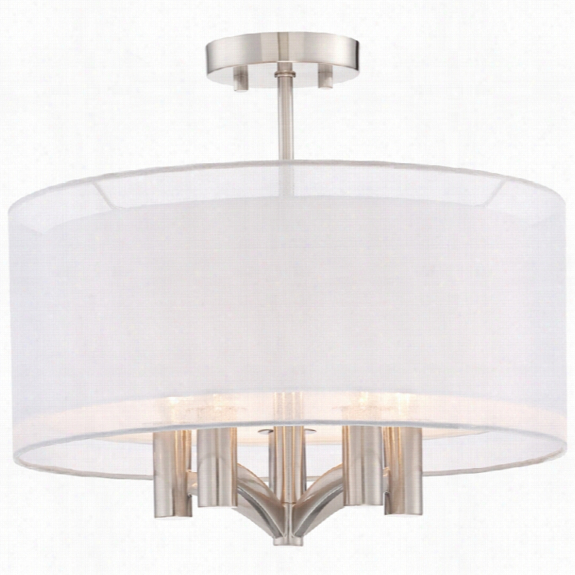 Transitional Caliari 5-light Brushed Nickel 18-inch-w Ceiling Ligght