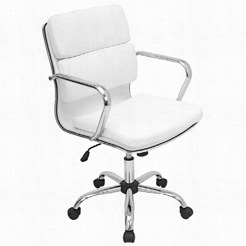 Contemporary Bachhelor  Chrome With White Leatherette Office Arm Chair