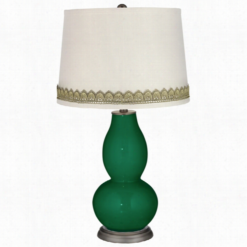 Contemporary Rgeens Doublle Gourd Table Lamp With Scallop Lace Trim