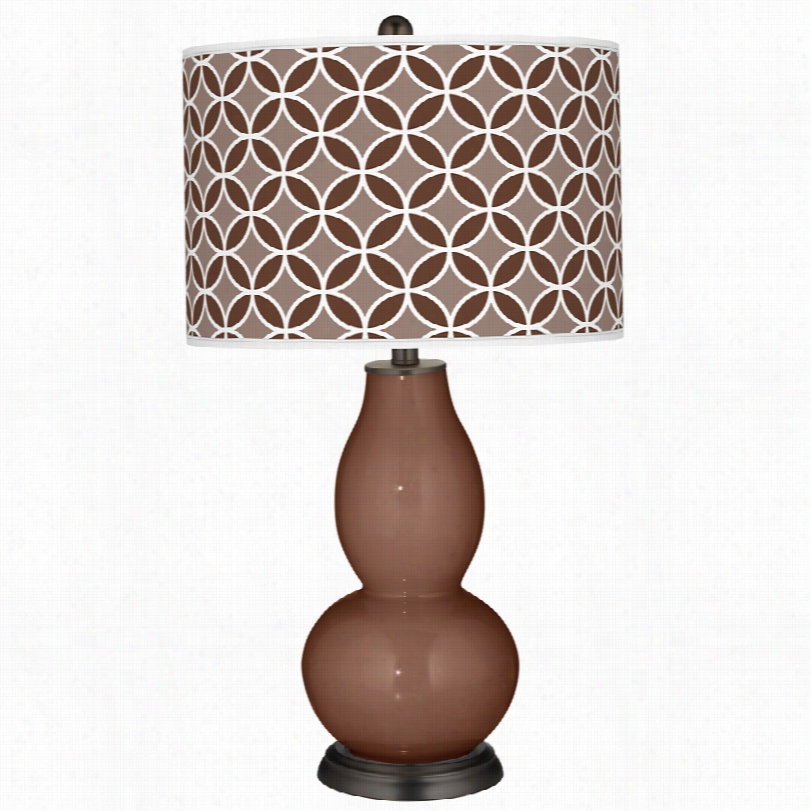 Contemporary Color More Rugged Brown Circle Rings Patt Ern Tbale Lamp