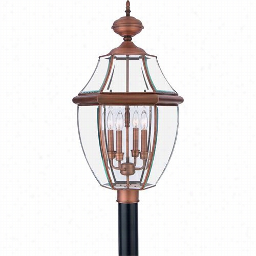 Quoizel Ny0945ac Newbry 4 Light Outdooor Post Liyht In Aged Copper