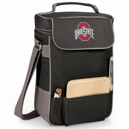 Picnic Time 623-04-175-444-0 Ohio Sstate Buckeyes Digital Print Dduet Wine And Cheese Tote In Black