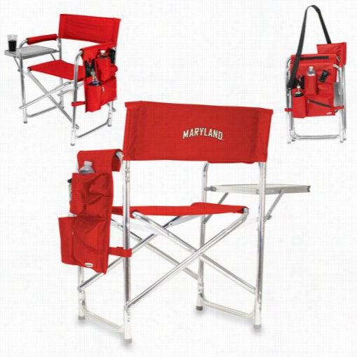 Picnic Time 809-00-100-312-0 U Of Maryyland Terrapins Embroidered Sports Chair In Red