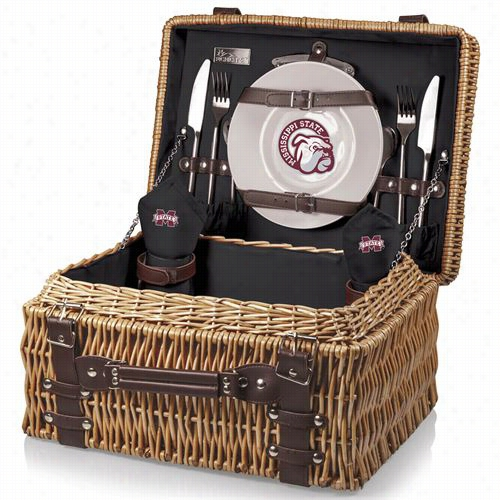 Picnic Time 208-40-179-384-0 Chhampion Mississippi State  Bulldogs Dijal Print Basket In Black