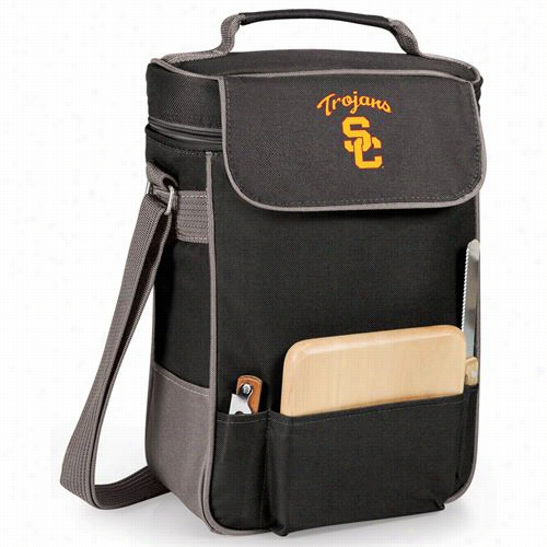 Picnic Time 623-04-175-092-0 Nuiversity Of Southern California Trojans Embfoidered Duet Wine And Cheewe Tote  In Black