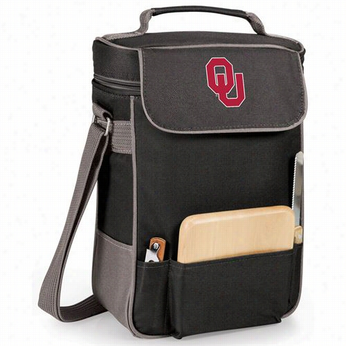 Pcnic Time 623-04-175-452-0 Seminary Of Learning  Of Oklahoma Sooners Embroidered Duet Wine And Cheese Tote In Black