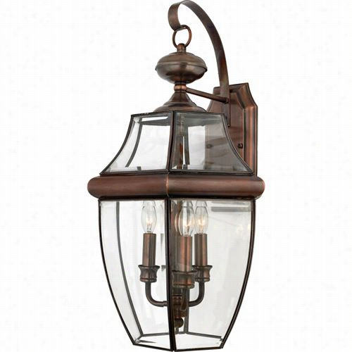 Quoizel Ny8318ac Newbury 3 Light Outdoor Wall Sconce In Aged Copper