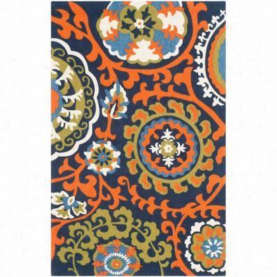 Sfavieh Cdr132a Cedar Brook Cottton Pile Hand Olomed Light Blue/orange Rug
