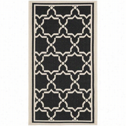 Safavieh Cy6916-22 6 Courtyard Polypropylene Machine Made Black/beige Area Rug