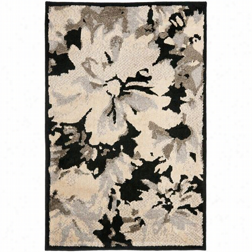 Safavieh Kas11 8a Kashmir Wool Power Loomed Black/ivory Rug