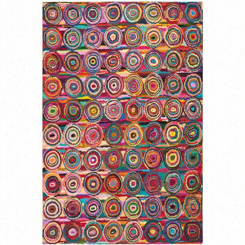 Safavieh Nna143a Nantucoet Cotton Pille Hand Tufted Pink/multi Rug