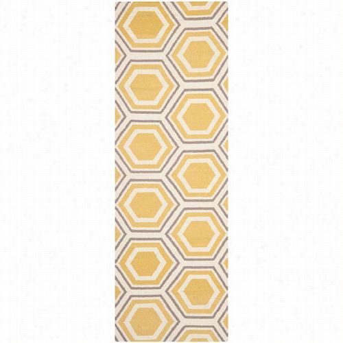 Safavieh Dhu202a Dhurries Wool Flatweave Ivory/yellow  Area Ru G
