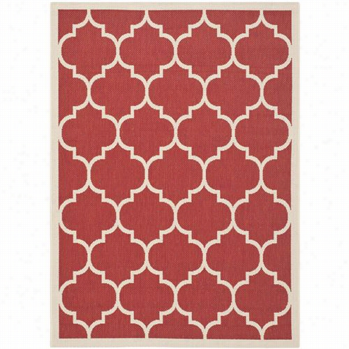 Safavieh Cy6914-248 Courtyard Polypropylene Machine Made Red/bone Area Rug