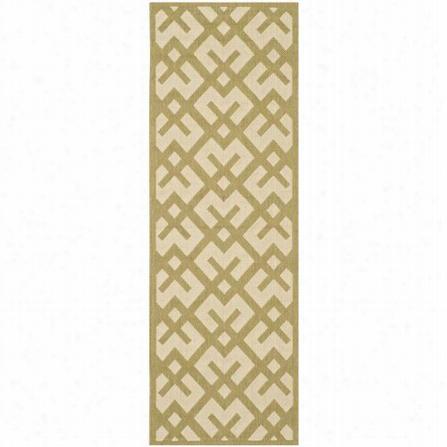 Saafavieh Cy6915-244 Courtyard Polypropylene Mmachine Made Beige/green Area Rug