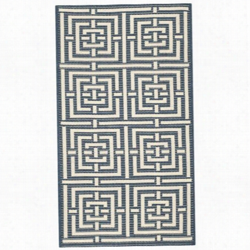 Safavieh Cy6937-268 Courtyard Polypropylene Machine Made Navy/beige Area Rug