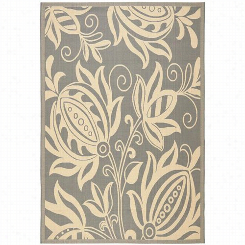 Safavieh Cy2961-3606 Cuortyard Polypropylene Machine Made Grey/natural Rug