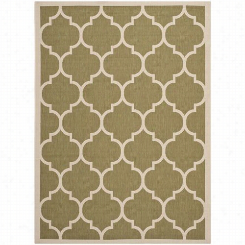 Safavieh Cy6914-244 Courtyard Polypropylene Mac Hine Made Green/beige Area Rug