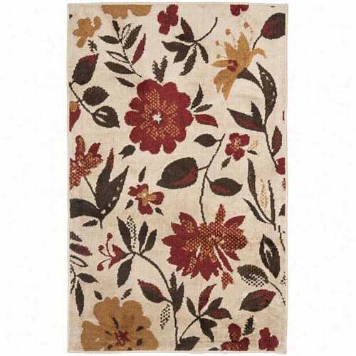 Safavieh Kas112a Kashmir Wool Power Loomed Ivory/red Rug