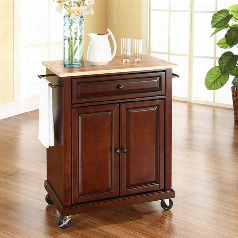 Crosley Natural Wood Top Portab Le Kitchen Island In Vintage Mahogany
