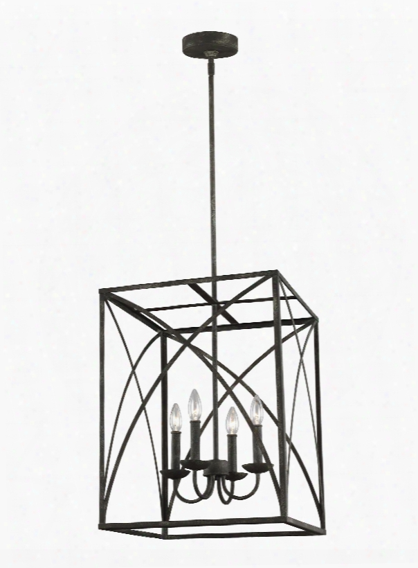 Murray Feiss Greenbrier 4-light Foyer In Iron Oxide