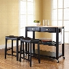 Crosley Natural Wood Top Kitchen Island with 24 Inch Black Upholstered Saddle Stools in Black