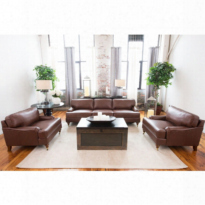 Elements Fine Home Athens 3-piece Top Grain Leather Collection In Bourbon