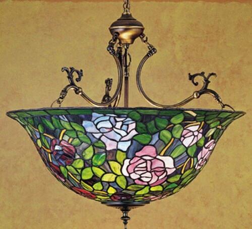 Meyda Tiffany Rosebush Inverted 3-light Pendant