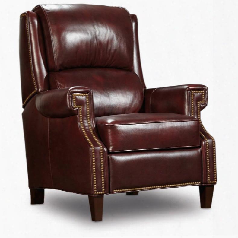 Hooker Morgan Recliner In Burgundy Leather
