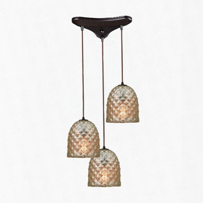 Elk Lighting Brimley 3-light Triangle Pan In Oil Rubbed Bronze With Raised Diamond Texture Mercury Glass Pendant