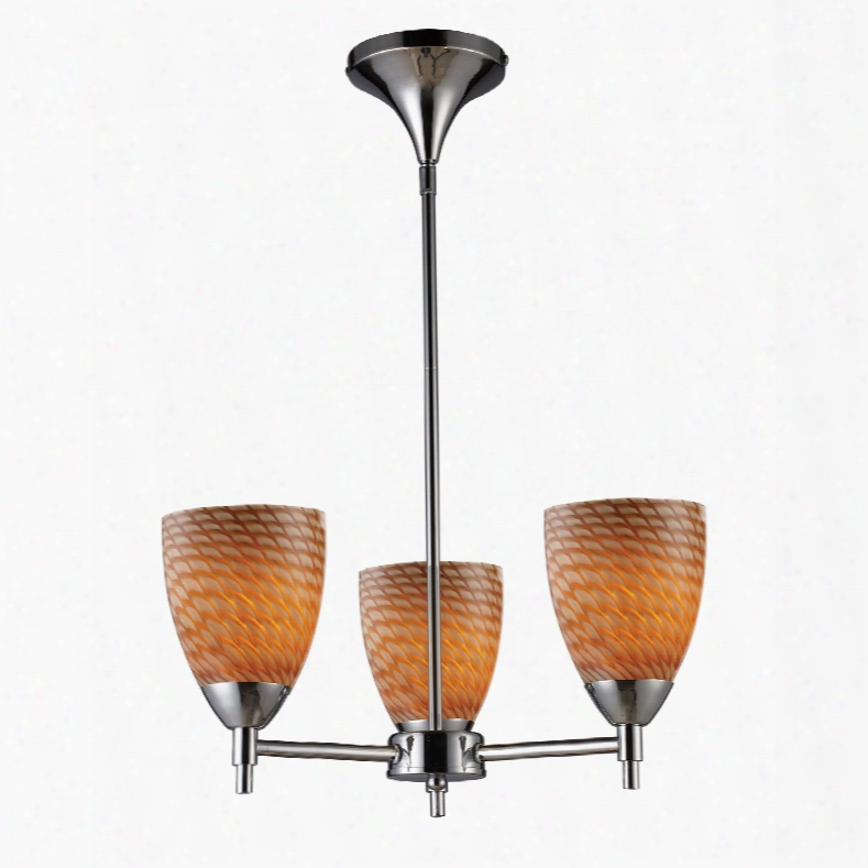 Elk Lighting Celina 3-light Channdelier In Polished Chrome And Cocoa Glass