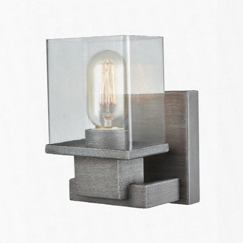 Elk Lighting Hotelier 1-light Vanity In Weathered Zinc With Clear Glass