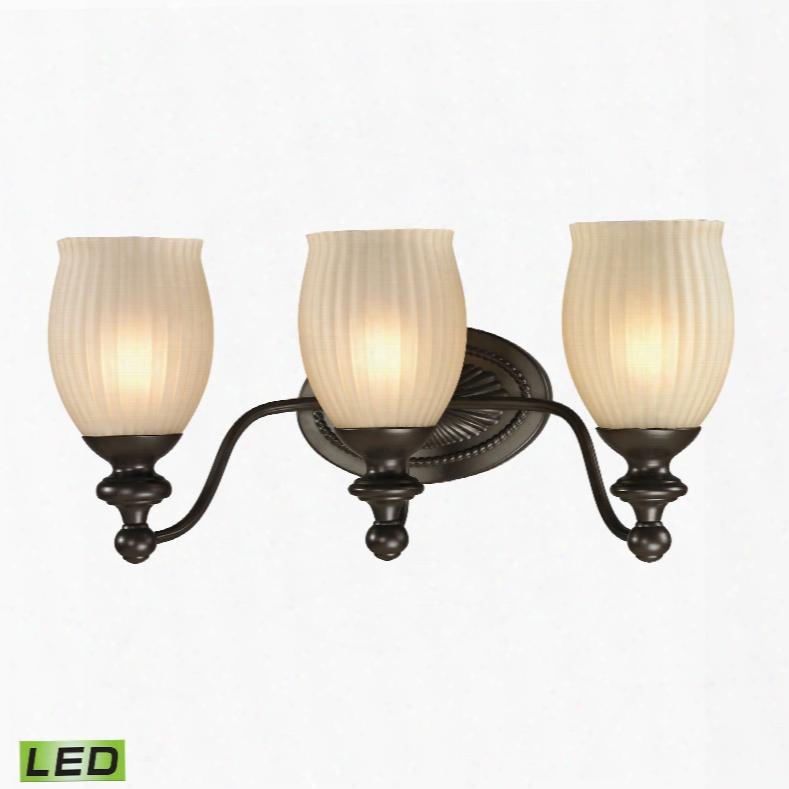Elk Lighting Park Ridge 3-light Led Vanity In Oil Rubbed Bronze And Reeded Glass