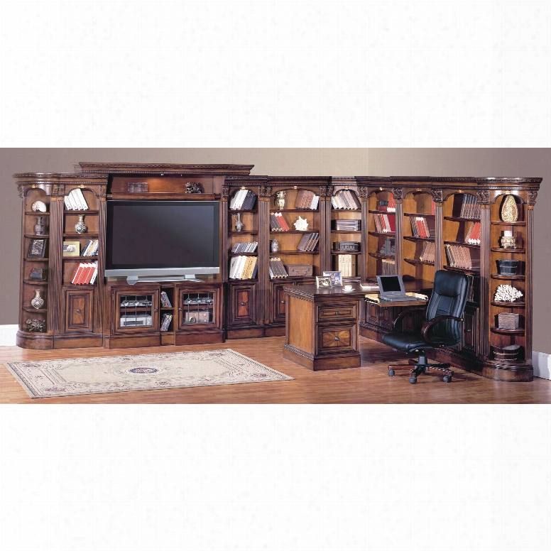 Parker Building Huntington Entertainment Library Wall With Expandable Tv Console And Peninsula Desk