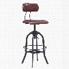 Zuo Era Gering Bar Chair in Burgundy and Antique Black