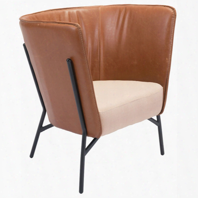 Zuo Era Assaneg Occasional Chair In Coffee And Beige