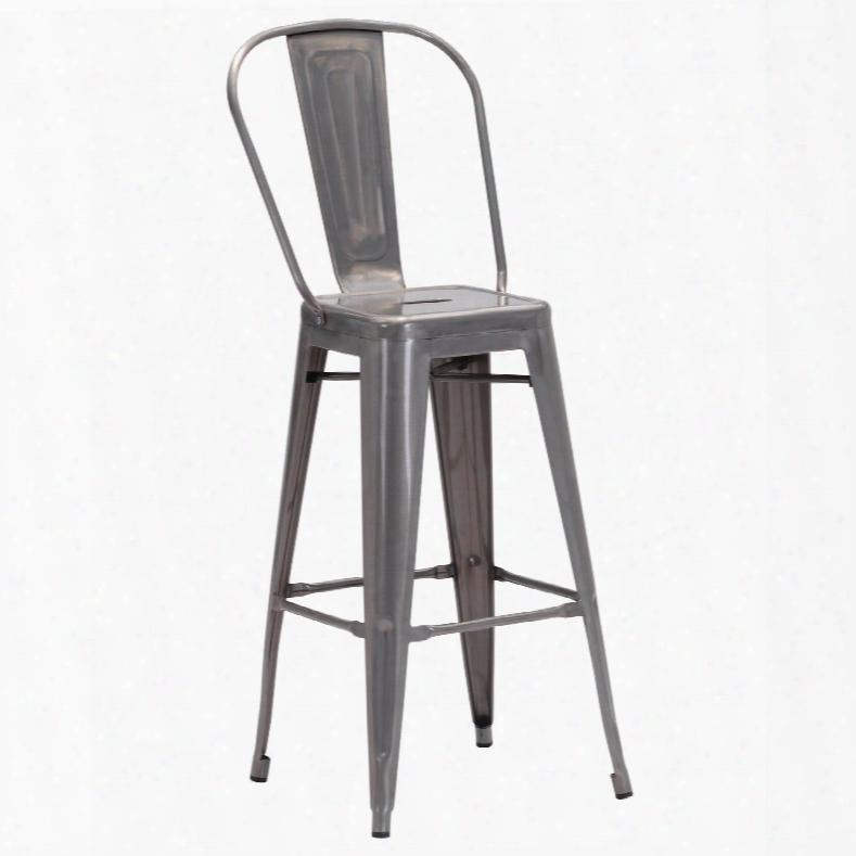 Zuo Era Elio Bar Chair In Gunmetal - Set Of 2