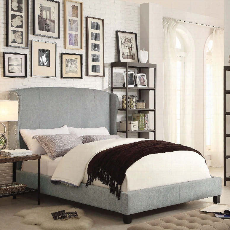 Alton Chavelle Wing Back Linen Upholstered Queen Platform Bed Ij Gray