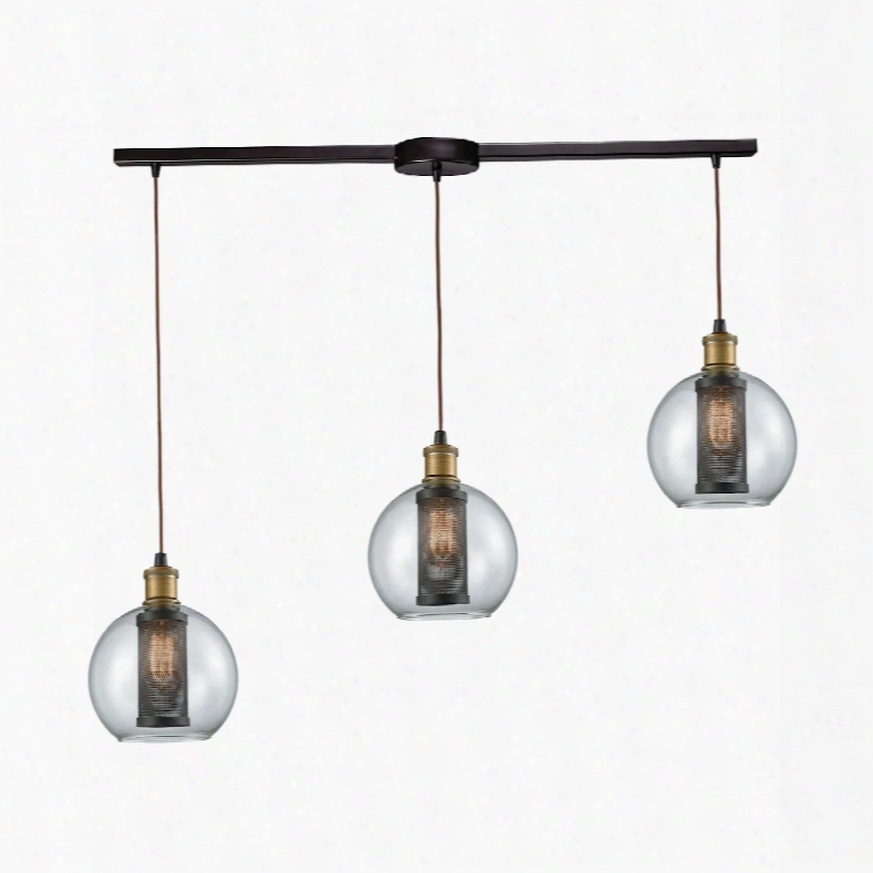 Elk Lighting Bremington 3-light Linear Bar Pendant In Tarnished Brass/oil Rubbed Bronze With Clear Glass And Perforated Metal Cage