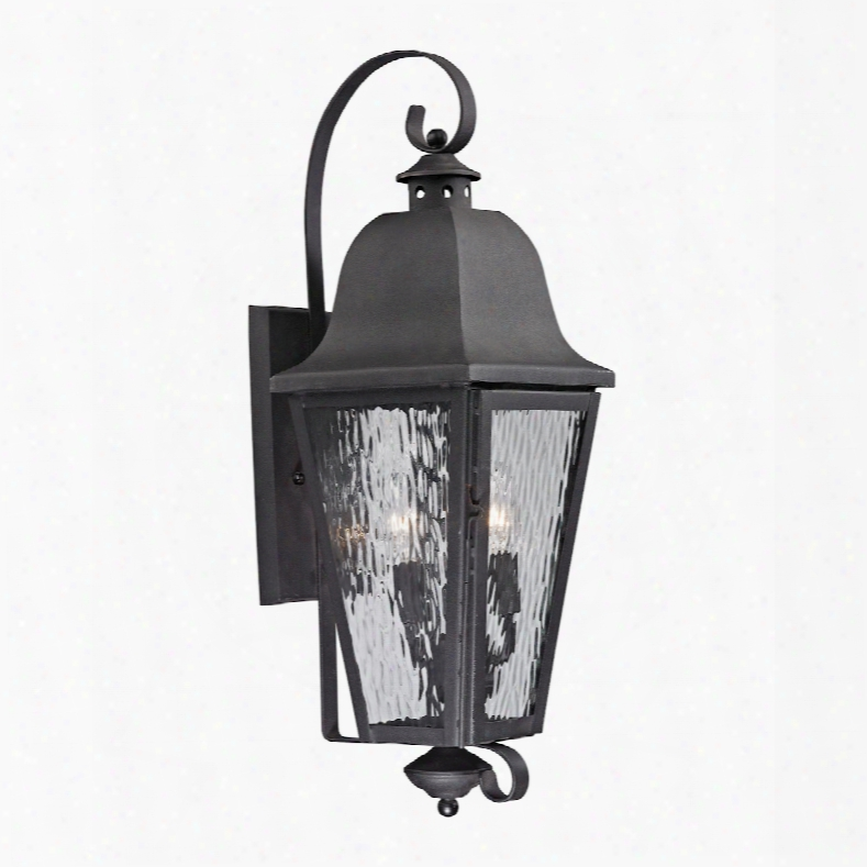 Elk Lighting Forged Brookridge 3-light Outdoor Sconce In Charcoal