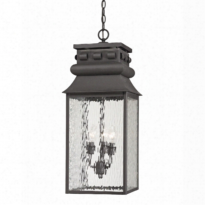 Elk Lighting Forged Lancaster 3-light Outdoor Pendant In Charcoal
