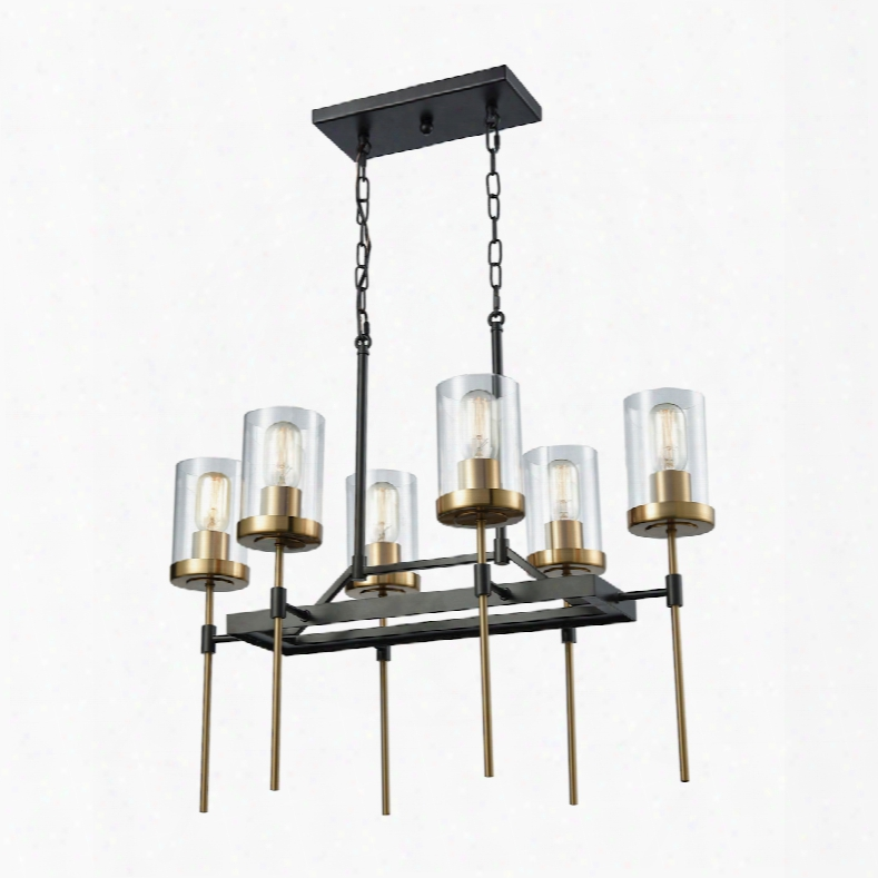 Elk Lighting North Hav En 6-light Chandelier In Oil Rubbed Bronze With Satin Brass Accents And Clear Glass