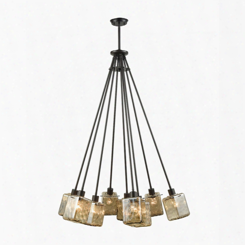 Elk Lighting Watercube 9-light Chandelier In Oil Rubbed Bronze With Teak Water Glass