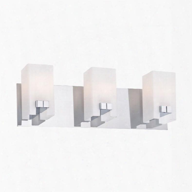 Elk Lighting Gemelo 3-light Vanity In Chrome And White Opal Glass