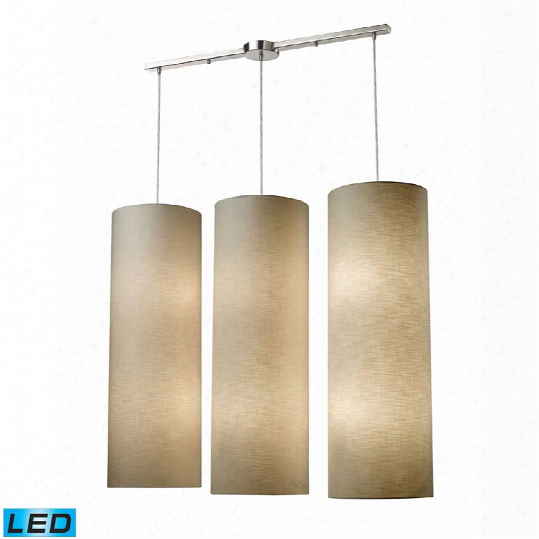 Elk Fabric Cylinder 12-lightlinear Pendant In Satin Nickel