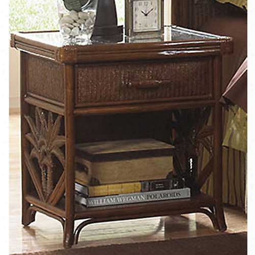 Pelican Reef Havana Palm 1 Drawer Nightstand