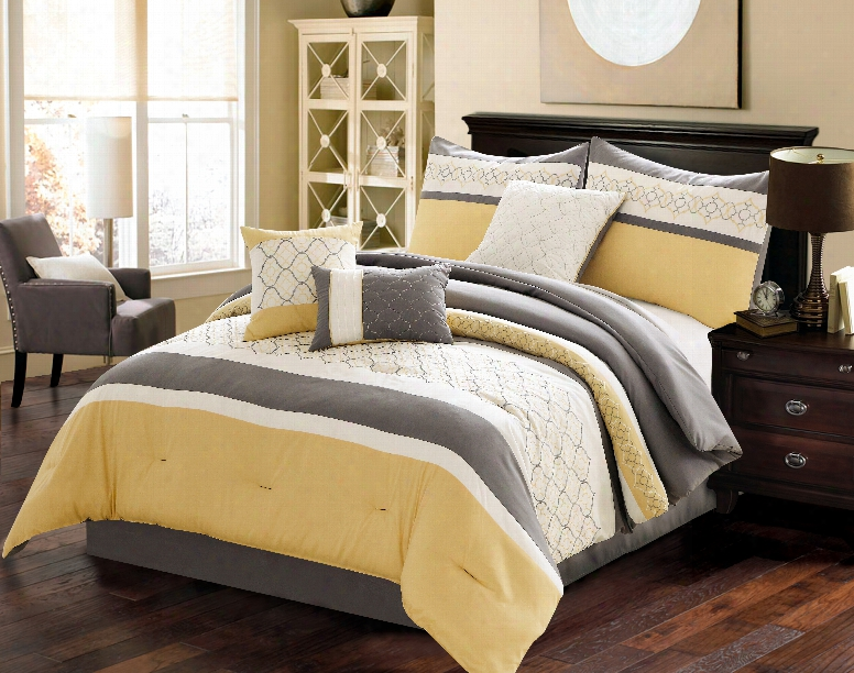 Country Manor Vermont 7 Piece King Comforter Set In Yellow/grey