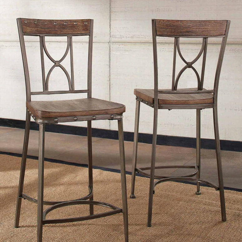 Hillsdale Furniture Paddock Non-swivel Counter Height Stool Set Of 2 In Brushed Steel Metal And Distressed Brown